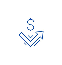 growth up money line icon concept growth up vector image