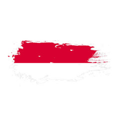 grunge brush stroke with monaco national flag vector image