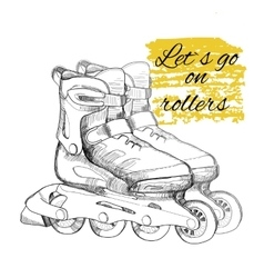 Hand drawn roller skate Graphic object for sport vector