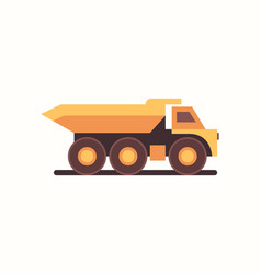 Heavy yellow dumper truck industrial machine coal vector