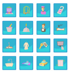 Hotel items set cartoon style vector