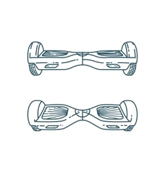 Hover boards in linear style vector image