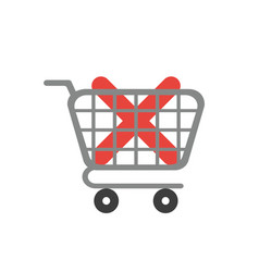 icon concept of x mark inside shopping cart vector image