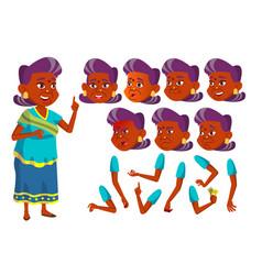 Indian old woman hindu asian senior vector