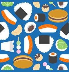 Japanese food seamless pattern such as sushi vector