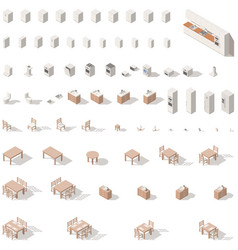 kitchen and bathroom low poly isometric icon set vector image