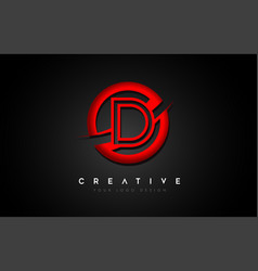 Letter d logo with a red circle swoosh design vector