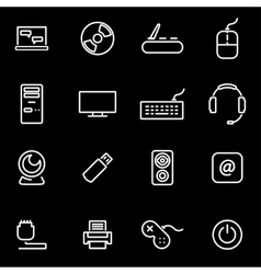 Line computer icon set vector