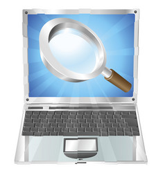 magnifying glass search icon laptop concept vector image
