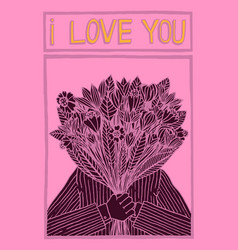 man holding flowers saying i love you vector image