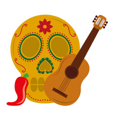 mexican skull guitar and chili pepper vector image