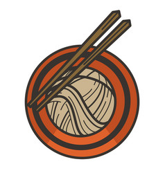 Noddles in bowl with chopsticks chinese cuisine vector
