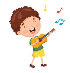 Of kid playing guitar vector