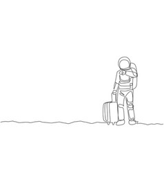 One single line drawing astronaut looking to his vector