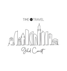 One single line drawing gold coast city skyline vector