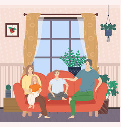parents and kids sitting on sofa in room vector image
