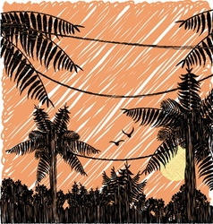 Pencil drawn sunset in the jungle vector