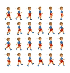 Phases of step movements boy in walking sequence vector