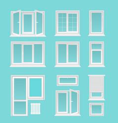 Plastic windows flat set vector