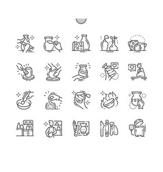 Pottery production well-crafted pixel perfect vector