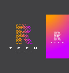 R letter logo technology connected dots letter vector