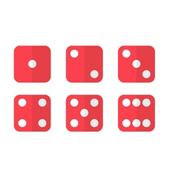 Red flat design dice icons vector