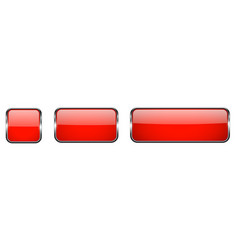 red glass buttons with chrome frame 3d square vector image