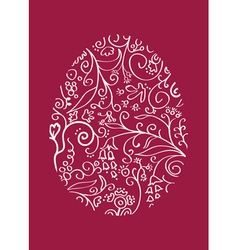 red lacy easter egg vector image