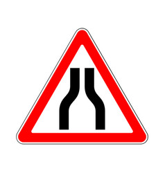 Road sign warning narrows on white background vector