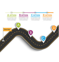 Road trip and journey route with pin pointer vector