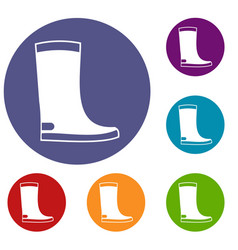 rubber boots icons set vector image