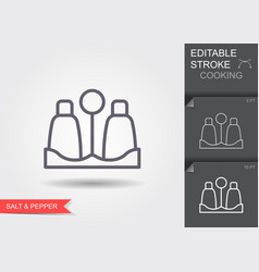 salt and pepper shaker line icon with editable vector image