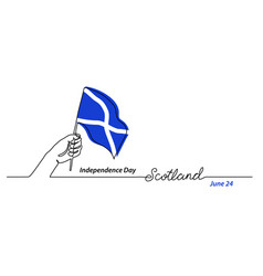 scotland flag with hand independence day vector image