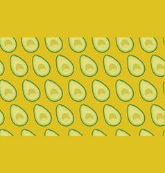 Seamless pattern sliced avocado on yellow vector