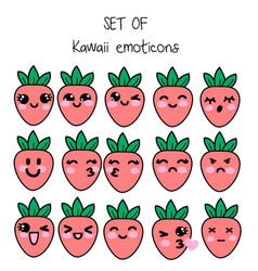 set of kawaii emoticons cute strawberries vector image