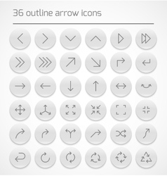 Set of outline arrow icons vector image vector image