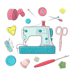 set sewing machine sewing accessories hand vector image
