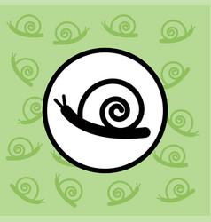 snail icon sign and symbol on green background vector image