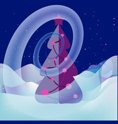 Snow swirl around xmas tree magical landscape vector