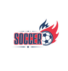 Soccer ball fire football team club icon vector