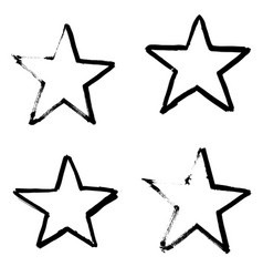 stars hand drawn set isolated on white background vector image