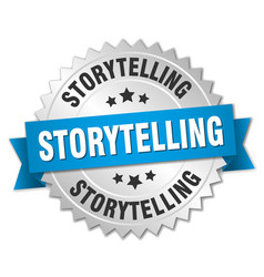 Storytelling round isolated silver badge vector