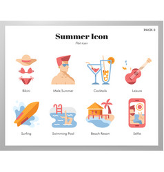 summer icons flat pack vector image