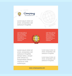 template layout for world globe comany profile vector image