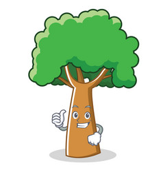 Thumbs up tree character cartoon style vector
