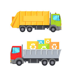 Trucks transporting waste set vector