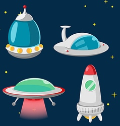 UFO Spaceship Cartoon Design Set vector