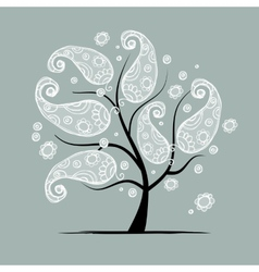 Vintage floral tree for your design vector