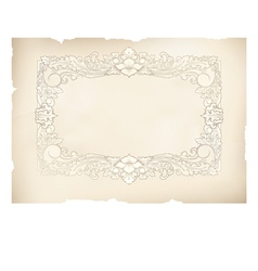 Vintage frame old paper drawing vector