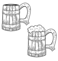 vintage mug beer in engraving style design vector image
